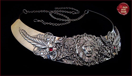 Collier Lion Argent Lannister Mariage Medieval Renaissance Fantastique Lion Wedding Necklace Silver Torc