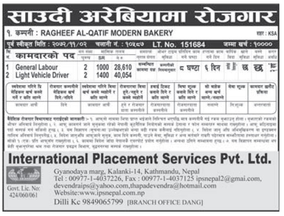 Jobs in Saudi Arabia for Nepali, Salary Rs 40,054