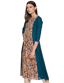 A-line, Ankle Length, Cotton, Kurti-Kurta, Maroon, Round Neck, Three Quarter Sleeve, Myx, Amazon