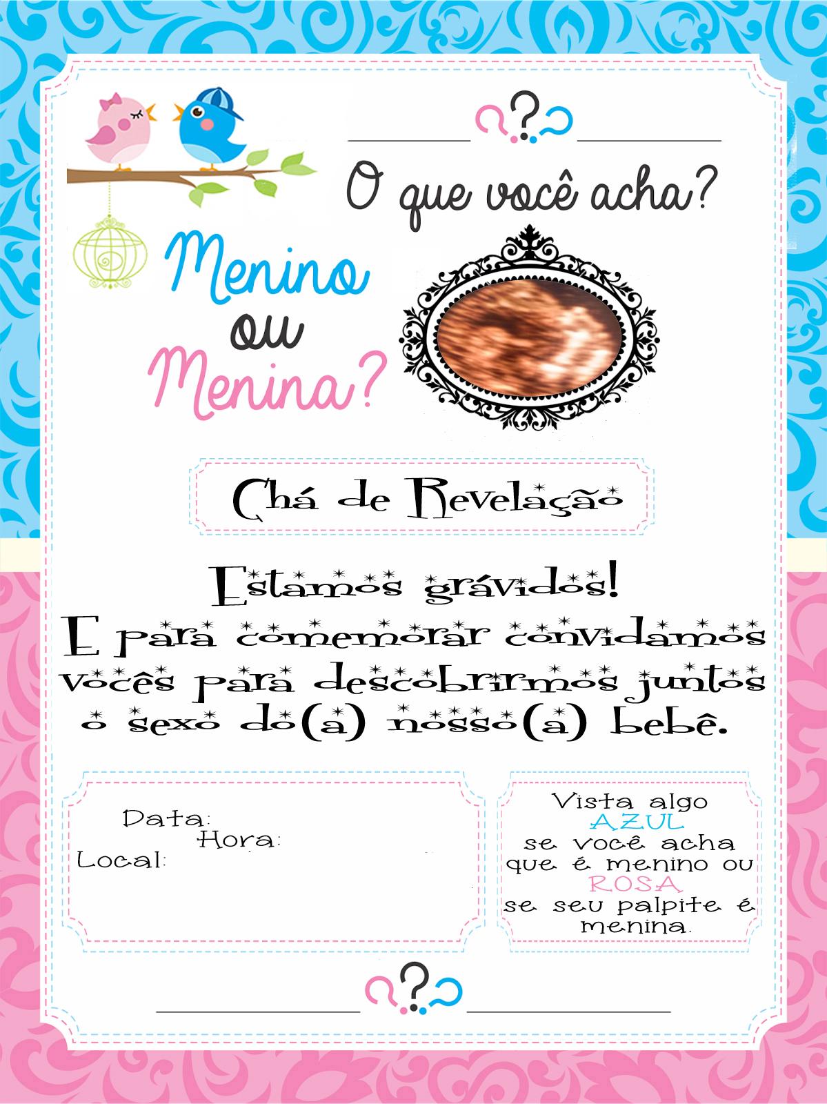 Convite Chá De Revelação Marília Juliane
