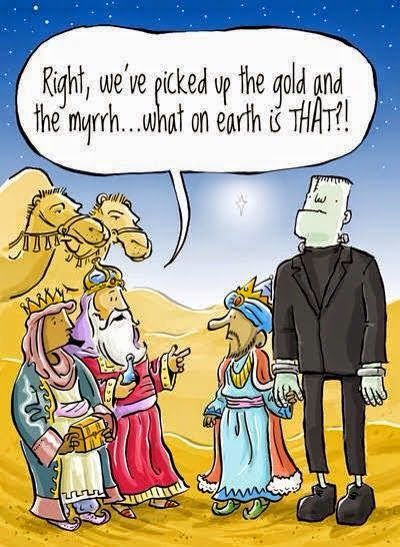 Funny three wise men Bible cartoon - Right, we've picked up the gold and the myrrh