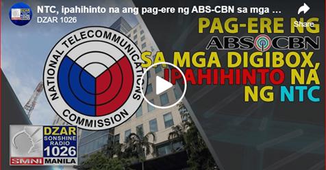 NTC, ipahihinto na ang pag-ere ng ABS-CBN sa mga digibox dahil sa paglabag