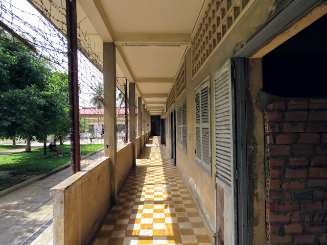 Outside corridor at the Tuol Sleng Genocide Museum in Phnom Penh Cambodia