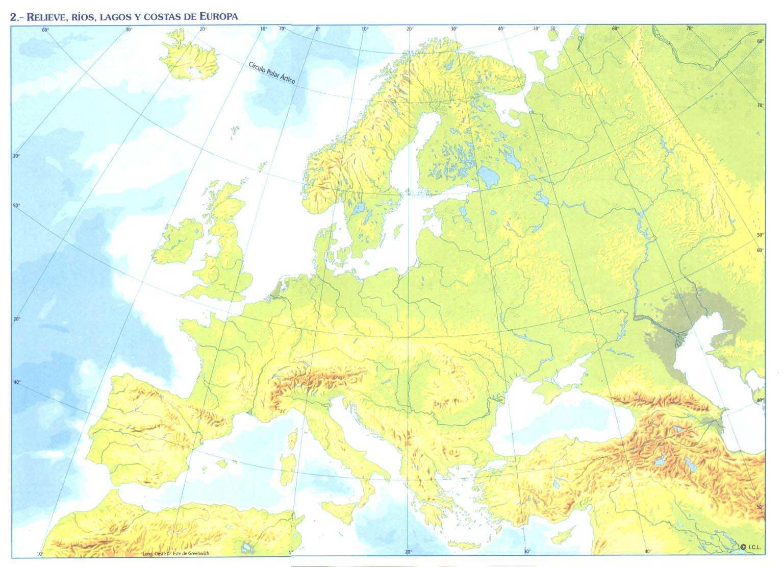 Islas De Europa Mapa.56b Santa Amalia Mapa Mudo Peninsulas Mares Rios Lagos E