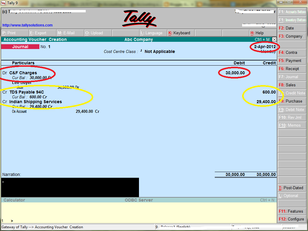 TDS transactions in Tally - Accounting & Taxation