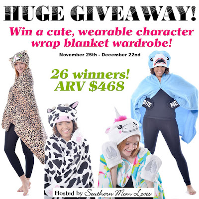 Enter the Cozy Character Blanket Wraps Giveaway. Ends 12/22