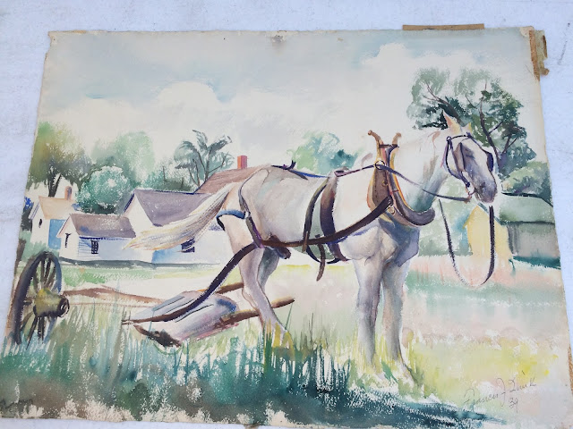 Horse Image, Horse Painting, water color of Maine Draft Horse