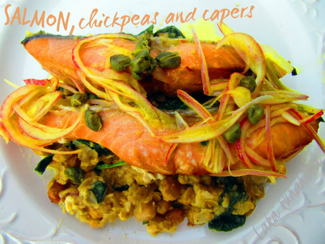 Salmon with chickpeas and capers by Laka kuharica: tender salmon in healthy all-in-one dish.