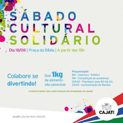 Sábado Cultural Solidário em Cajati neste 18/08