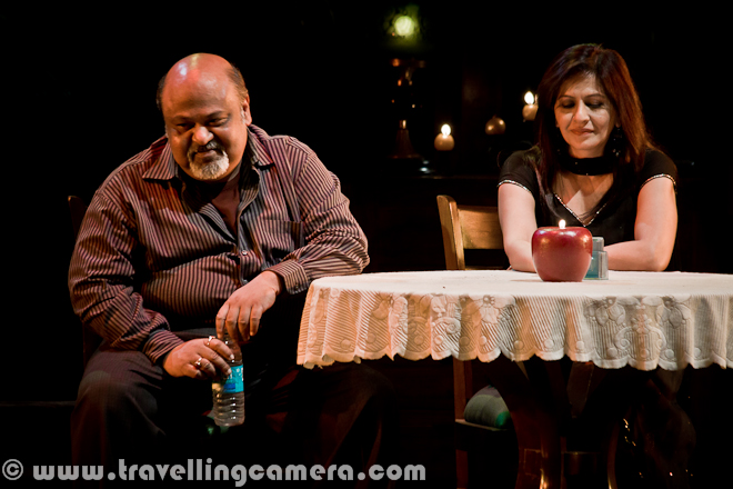 Mr. Parmeet Singh Sethi(Saurabh Shukla) has already dated Shomali Singh(Nigar Khan) and Rinki Chhibbar (Mona Wasu) in RED HOT play during Bharat Rang Mahotsav 2012 and now is the time to continue with last part of the play when Mr. Sethi has invited closest friend of his wife on a date at his Mom's place. Let's check out this Photo Journey with some details about the play and highlights of some special moments...This was the last date of Mr. Sethi during this play and after Savita entered, she kept keeping distance and started talking about right or wrong aspect of their meet outside their houses without telling their life partners. Savita was too tensed as she entered into the houseDuring Red Hot play all three dates were completely different and brilliantly presented with best possible humor in it. The second act was marvelous and Mona Wasu's speaking style was unmatchable. At the same time other actors performed their roles best and Saurabh Shukla was one stage all the time as he was main character of the play. As usual he was brilliant during the play.Continuing the discussion about right and wrong, it reaches to a state when savita talked about the fact that world is full of bad people and Mr Sethi was confronting this fact. Discussion was  really interesting and very humorous :)At times, Mr. Sethi tried to make her comfortable at the house without any guilt, but nothing worked.Slowly the discussion became an argument and now Mr. Sethi was too much irritated of this all. RED HOT play during Bharat Rang Mahotsav was one of the most popular and the play for which tickets were sold within few hrs on Bookmyshow.com. Many folks like me were not able to get the ticket. I again thank to NSD Repertory artists Mr. Sukumar Tudu,who arranged one ticket for meAt times Mr. Sethi was shocked on some of the reasoning by Savita :) .. Above photograph from RED HOT is showing wonderful expressions of Mr. Saurabh Shukla, who has also directed this play apart from his marvelous acting in it.Finally he got frustrated and started talking some facts about his life and how he started thinking about dating other ladies outside home..Full bio of extremely talented Actor and Director, Saurabh Shukla, can be seen at http://www.imdb.com/name/nm0795661/biFinally Mr. Sethi accepted that he can't even think of indulging into an extra marital affair and calls her wife to offer a date on dinner. It's again a wonderful conversation where his wife insist to go to a dhaba in Delhi rather than spending unnecessary money in any other 5 star hotel... Play ends with this telephonic conversation and whole Kamani Auditorium was standing to appreciate the wonderful acting by every actor on the stageHere are three ladies of this play Savita Prasann by Preeti Mamgai, Rinki Chhibbar by Mona Wasu and Shomali Singh by Nigar Khan !!!Saurabh shukla introducing each and every member of the crew with great honor for everyone. Saurabh Shukla presenting flowers to his team after successful completion of RED HOT play at Kamani Auditorium, during Bharat Rang Mahotsav 2012.Mona Wasu, Nigar Khan and Prashant Sehgal on stage of Kamani Auditorium after completion of RED HOT play during Bharat Rang Mahotsav 2012.Red Hot, by Saurabh Shukla , follows the travails of Parminder Singh Sethi (Saurabh Shukla), who`s suffering from a midlife crisis. He owns a restaurant at Khan Market, New Delhi which isn't doing very well. Parminder is bored to death with the mundane routine of his life. He feels as though life has passed him by, and he has nothing left to look forward to. In his state of ennui, And for the first time in his 22-year marriage, he`s seriously considering to indulge, thinking it might bring some excitement back into his life. However, indulging with a woman is much easier said than done. In the processes of making his fantasies a reality, Parminder meets THREE WOMEN.... And the hell breaks loose! This is how it was defined on one of the websites I looked for this play.
