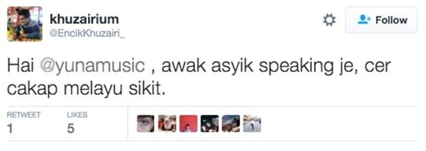 Jawapan Yuna Bila Ada Peminat Minta Cakap Bahasa Melayu Di Twitter Memang Sangat Win