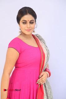 Actress Poorna Pictures in Red Salwar Kameez at Jayammu Nischayammu Raa Teaser Launch  0016
