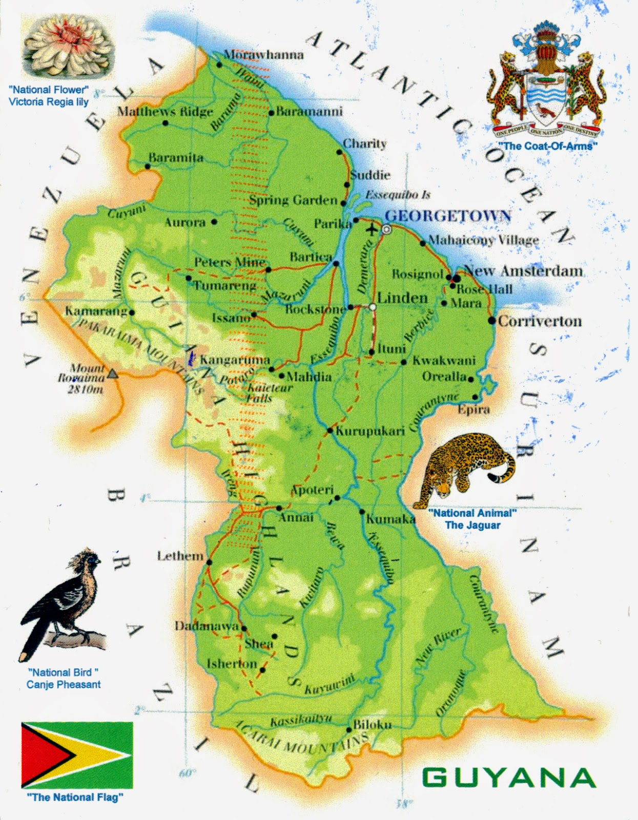 World Come To My Home 1022 1472 Guyana The Map And The Flag Of