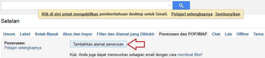 Klik Tambahkan alamat penerusan
