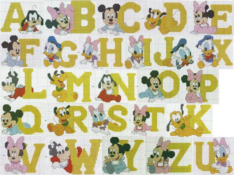 Punto croce per i bambini la mia passione alfabeti for Punto croce bambini disney