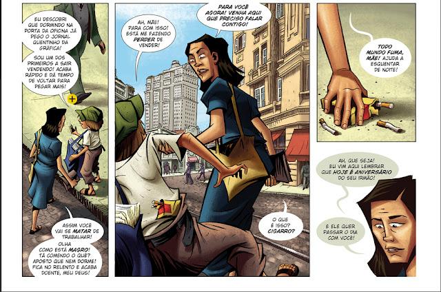 Página da HQ gostrando uma conversa entre mãe e filho no século XX. No caso a mãe trabalha e o filho (jornaleiro).