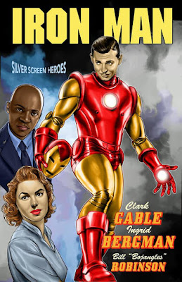 Iron Man featuring Clark Gable as Tony Stark, Ingrid Bergman as Pepper Potts, and Bill Robinson as James Rhodes