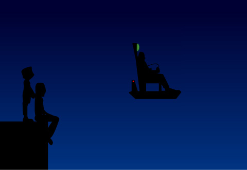 Image of a two silhouetted figures looking up at a man on a hover chair flying by in the night sky.