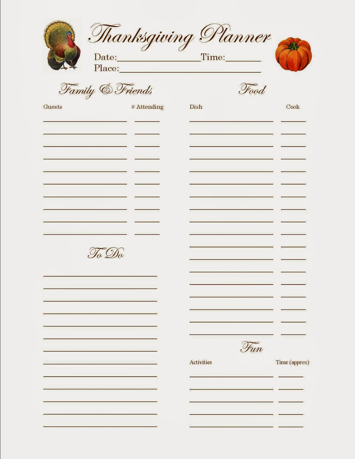Thanksgiving Potluck Signup Sheet Free Download