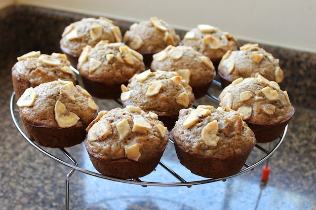 Food Lust People Love: These lovely banana honey bran muffins, made with mashed bananas and sweetened banana chips, are further sweetened with honey and dark brown sugar.