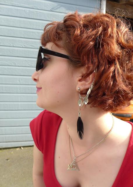 boucles d'oreilles à plume piercing