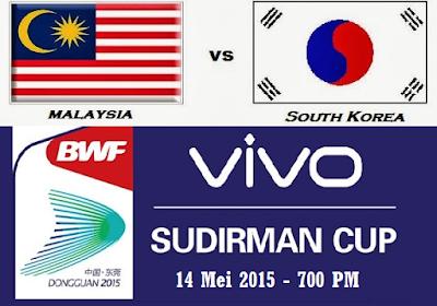 live Malaysia Vs Korea 14 Mei 2015 Piala Sudirman