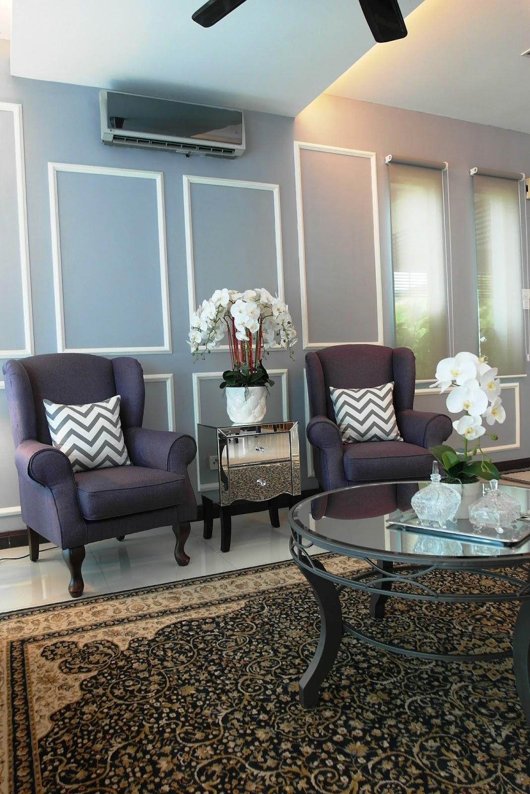 These Are Our Existing Arm Chairs Which Lentera Refurbished I Never Knew Purple Would Go So Well With Persian Carpet And That Mirrored Double Drawers