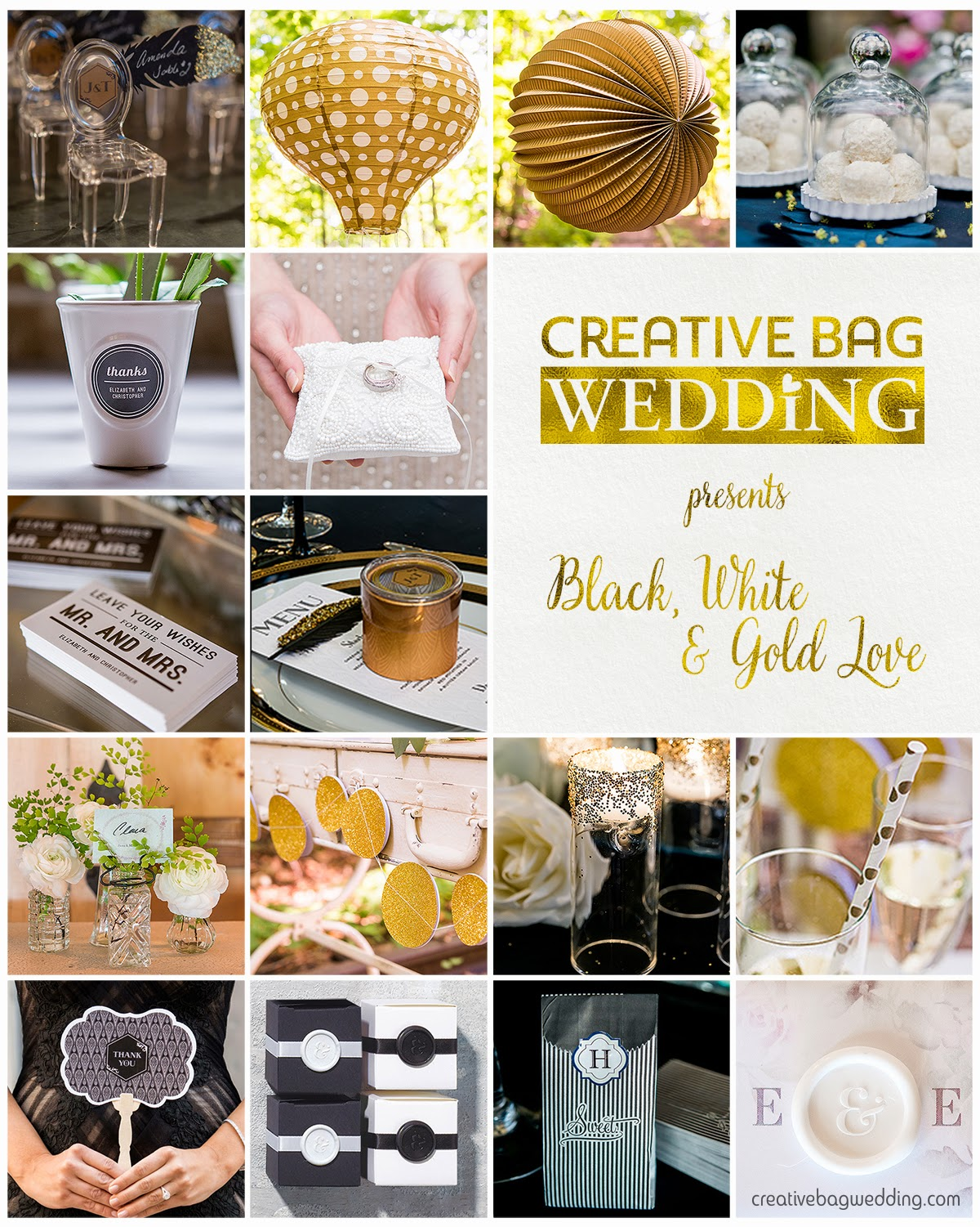 black, white & gold theme mood board | Creative Bag Wedding