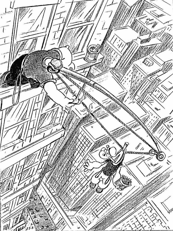 a Fleischer studio animation layout for 'Popeye', 1930s Bluto