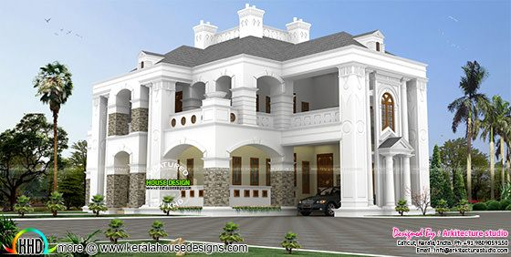 5 BHK Colonial style house architecture