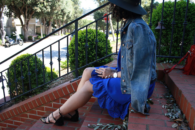 off the shoulder dress, cobalt dress, Janessa Leone fedora, laser cut off the shoulder dress, cobalt dress, spring style, The Harbingers, strappy flats, Daniel Wellington, denim
