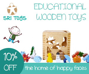 Advert showing a wooden shape sorter toy