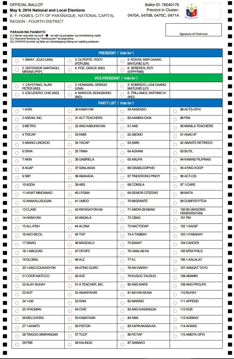 Voters Ballot Sample 2016