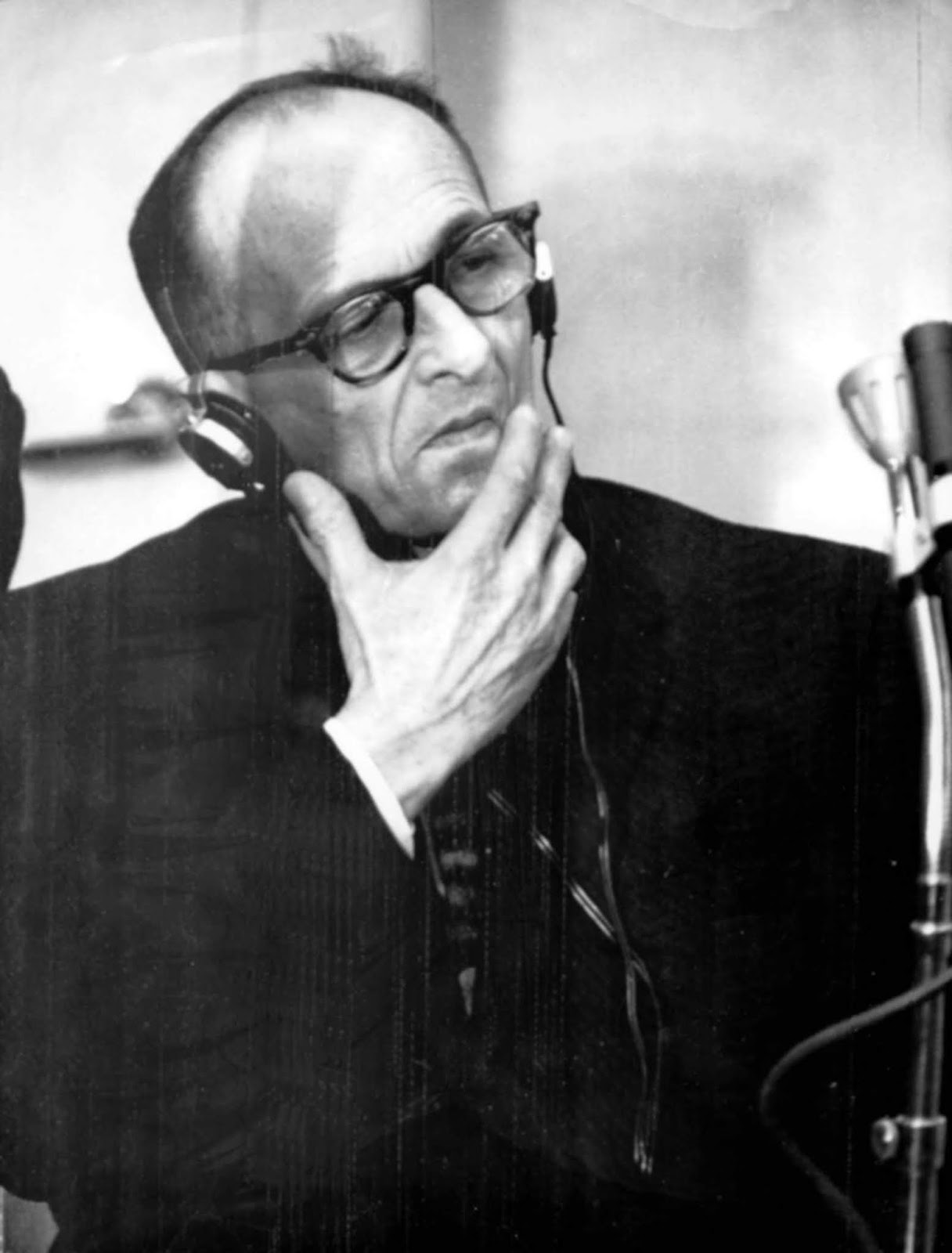 Adolf Eichmann listening to the verdict in his trial in December 1961.
