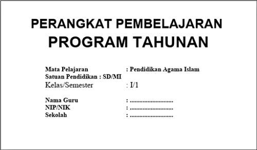 Program Tahunan PAI Kelas 1 SD/MI Kurikulum 2013 Tahun 2018/2019