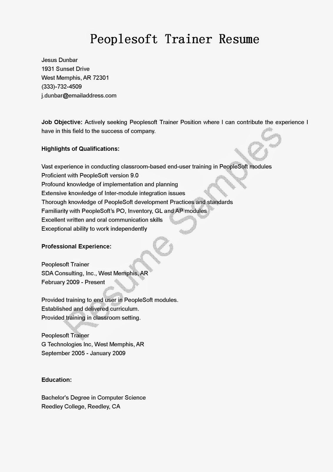 Resume Samples Peoplesoft Trainer Resume Sample