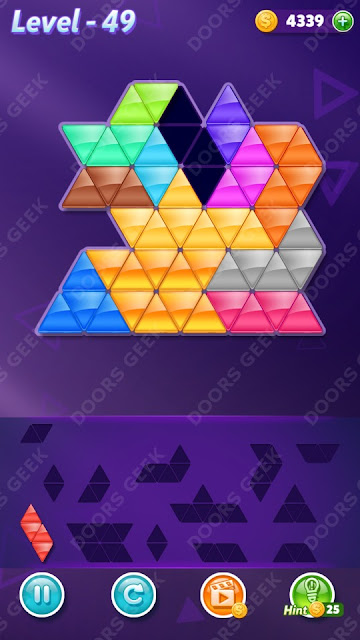 Block! Triangle Puzzle Champion Level 49 Solution, Cheats, Walkthrough for Android, iPhone, iPad and iPod