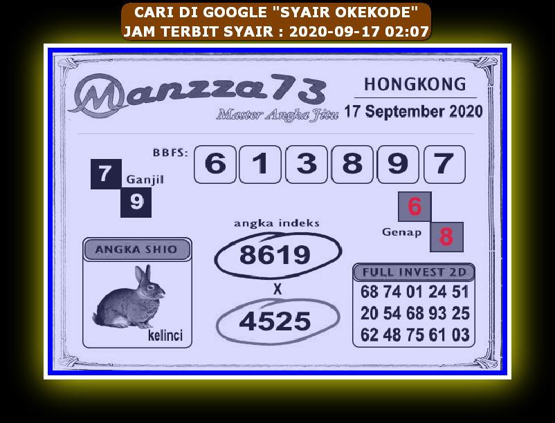 Kode syair Hongkong Kamis 17 September 2020 181