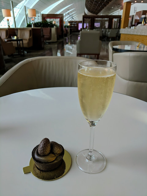 Chocolate cake and champagne in the Emirates Business Class Lounge in Dubai