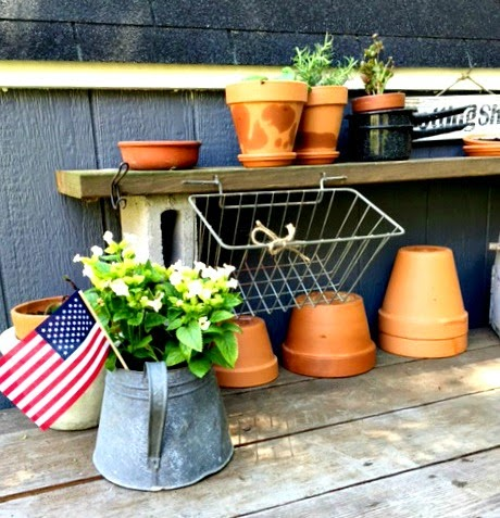 A Repurposed Outdoor Potting Table