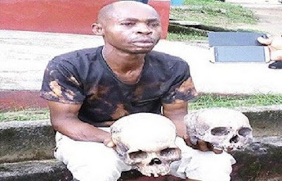 'Police Have No Right To Arrest Me' - Man Caught With 2 Human Skulls (Photo)