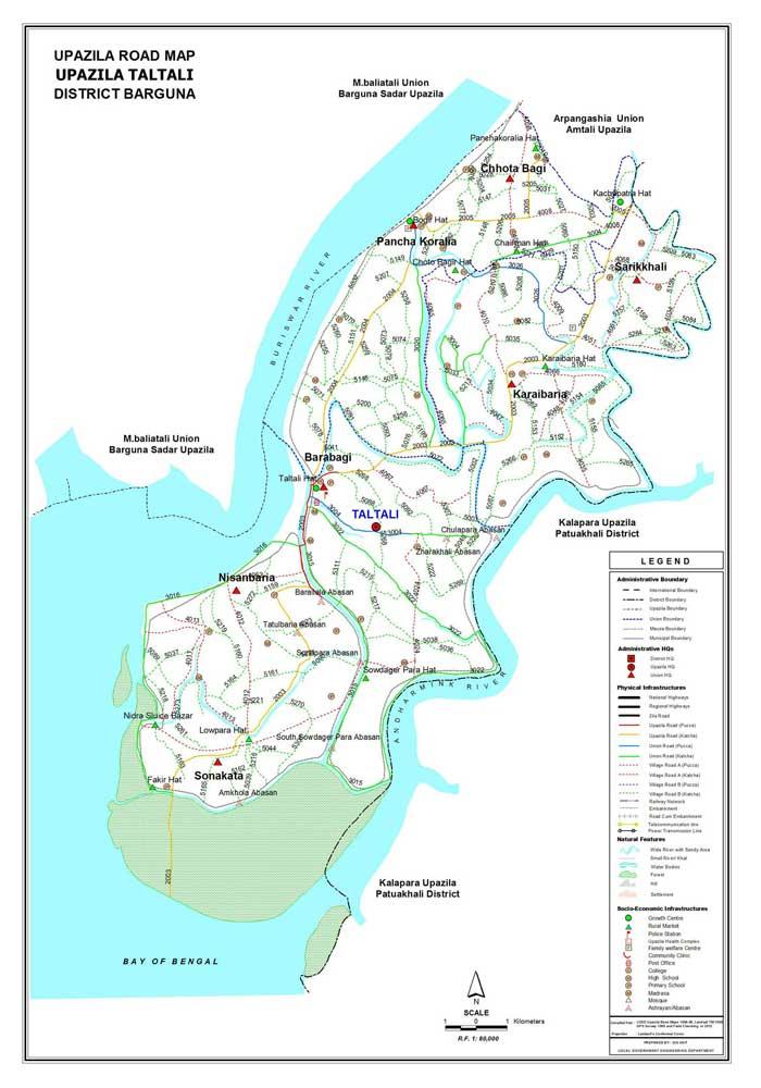 Taltali Upazila Road Map Barguna District Bangladesh