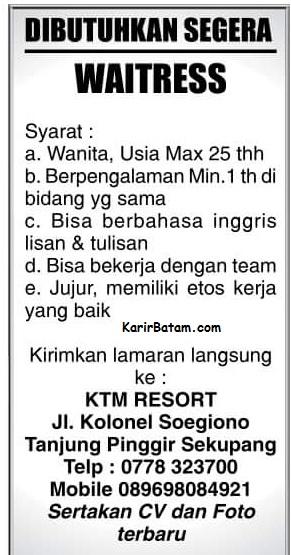 Lowongan Kerja KTM Resort Sekupang