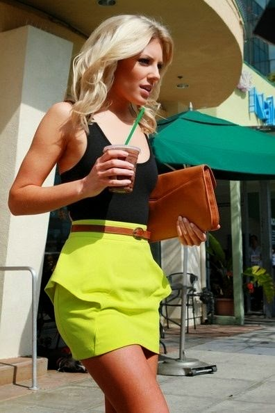 Mollie King - Neon skirt, black tank, camel belt!! Cute
