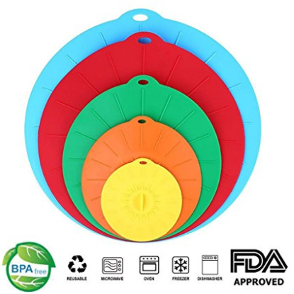 image of multicolored lids with icons indicating they are BPA free, reusable, microwave safe, oven safe, freezer safe, dishwasher safe, and FDA approved