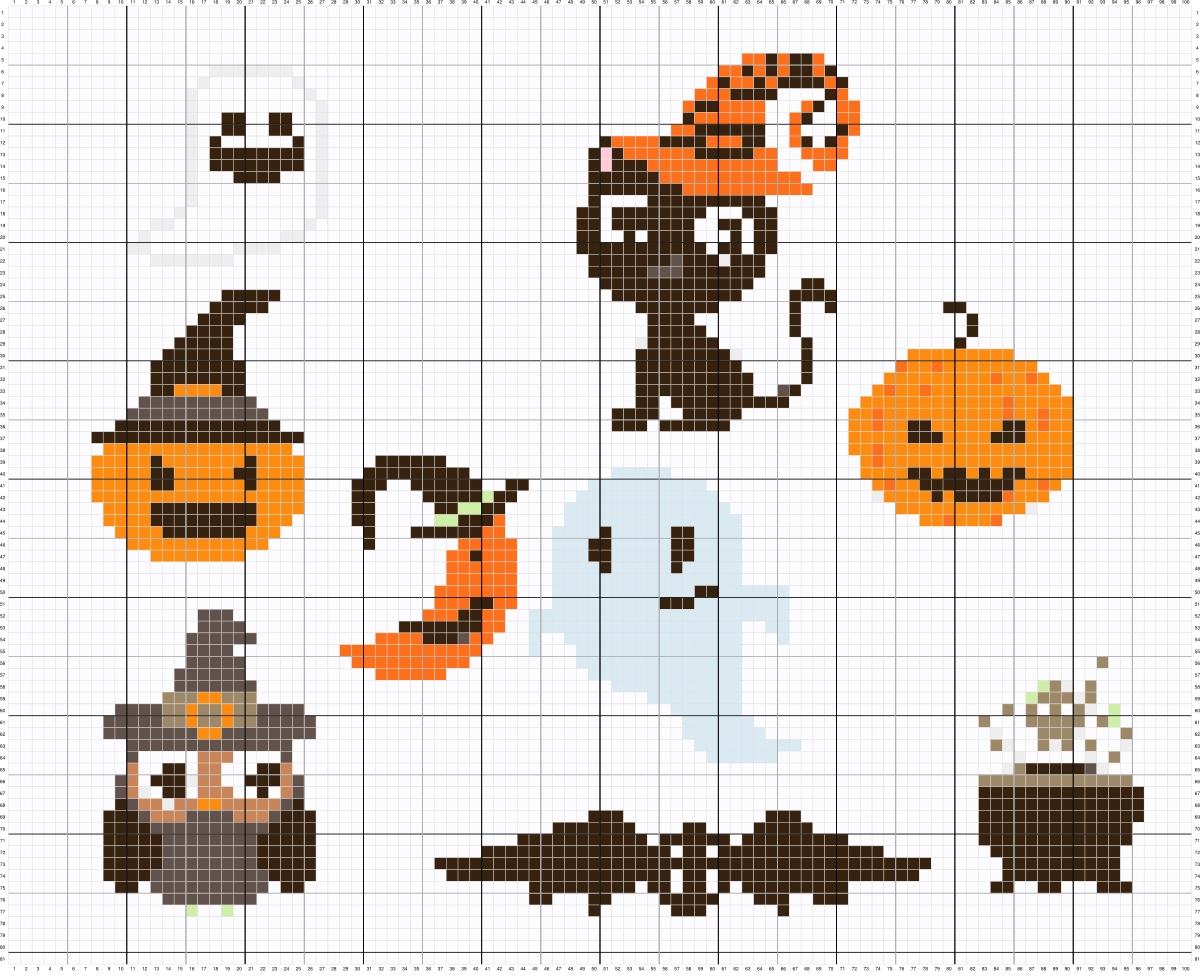 Motif Citrouille Halloween Grille Point De Croix Halloween Le Stitch En Folie