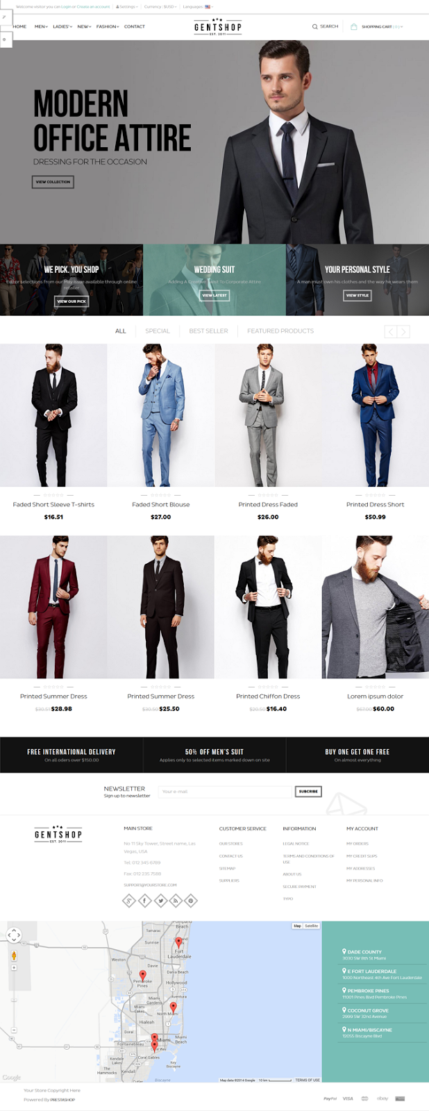 free mens shop template