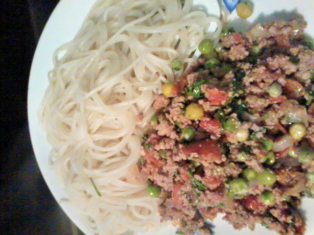 Spaghetti, Mince and Peas