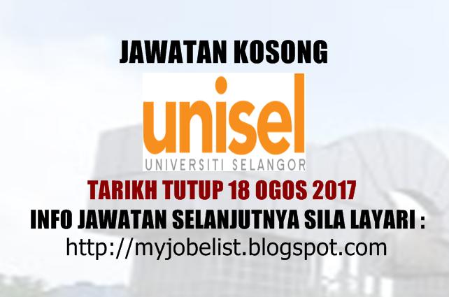 Jawatan Kosong di Universiti Selangor (UNISEL) Ogos 2017