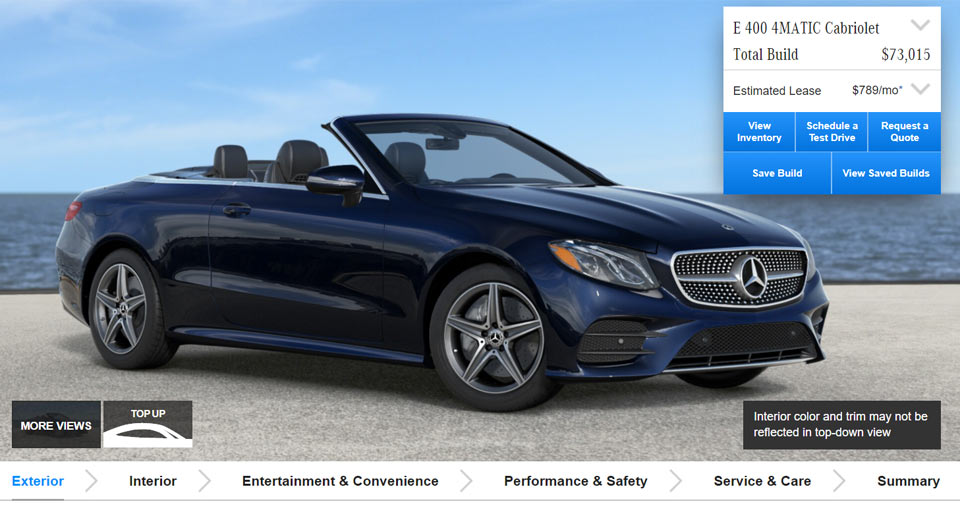 Create Your Perfect Mercedes E Class Cabrio With Official